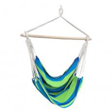 Závěsné houpací křeslo, bílá / pásek, modrá / zelená, LINDO NEW
