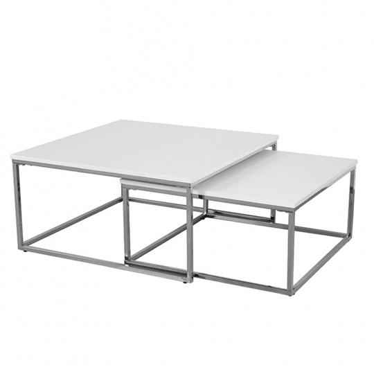 Konferenční stolky, set 2 ks, chrom/bílá, ENISOL TYP 1