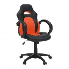 Kancelářské křeslo, ekokůže černá / ekokůže oranžová, NELSON
