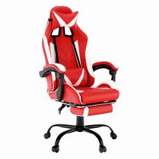 Kancelářské/herní křeslo, černá/bílá/červená, OZGE NEW