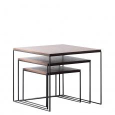 Konferenční stolky, set 3 ks, ořech / černá, DVEIN