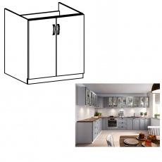 Dřezová skříňka, šedá matná / bílá, LAYLA D80Z