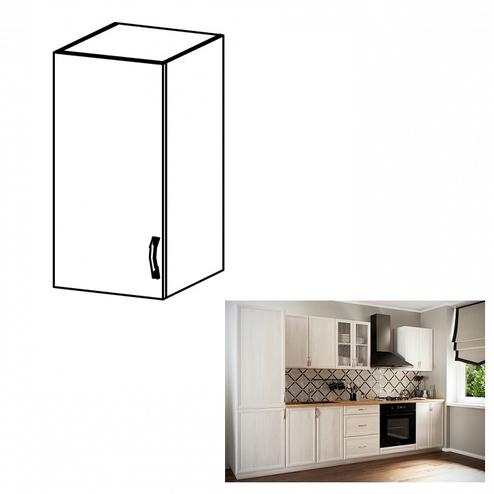 Horní skříňka G30, levá, bíla/sosna Andersen, SICILIA