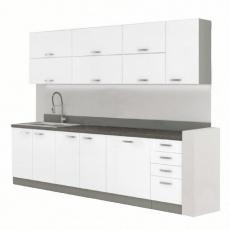 Kuchyňská linka, bílá extra vysoký lesk / šedá, PRADO