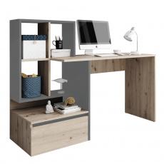 PC stůl, dub artisan/grafit-antracit světlý, NEREO