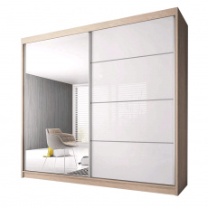 Skříň s posuvnými dveřmi, dub sonoma / bílá, 183x61x218, MULTI 35