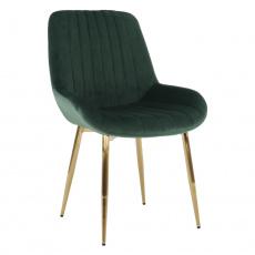Židle, smaragdově zelená/gold chrom-zlatý, PERLOS