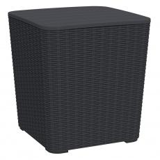 Zahradní úložný box / příruční stolek, černá, UGUR