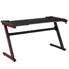 Herní stůl / počítačový stůl, s RGB LED osvětlením, černá / červená, MACKENZIE 140cm