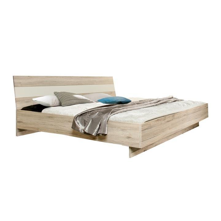 Postel, 180x200, dub pískový/bílá, VALERIA