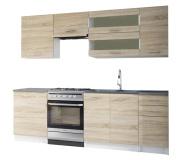 Kuchyňská linka 2, 4m, dub sonoma / bílá, FABIANA