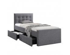 Moderní postel, šedá, 90x200, VISKA NEW