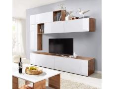 Obývací stěna, bílá s extra vysokým leskem/dub Wotan, MIRALDA