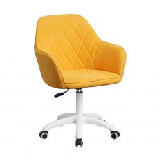 Kancelářské křeslo, látka žlutá / bílá, SANTY