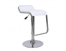 Barová židle, ekokůže bílá / chrom, Ilana NEW