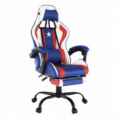 Kancelářské/herní křeslo, modrá/červená/bílá, CAPTAIN