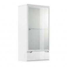 Závěsná vitrína, bílá / bílá s extra vysokým leskem, ADONIS AS 08