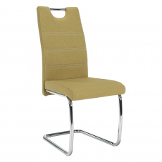 Jídelní židle, zelená látka, světlé šití / chrom, ABIRA NEW