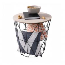 Příruční stolek, přírodní/černá, NANCER TYP 2
