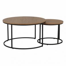 Konferenční stolky, set 2 ks, dub/černý, IKLIN