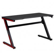 Herní stůl / počítačový stůl, černá / červená, MACKENZIE 140cm