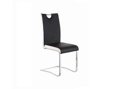 Jídelní židle, Chrom / Ekokůže, Černá / Bílá, IMANE