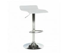 Barová židle, ekokůže bílá/chrom, LARIA NEW