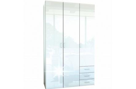 Skříň, 3 - dveřová, bílá extra vysoký lesk HG, GWEN 70427