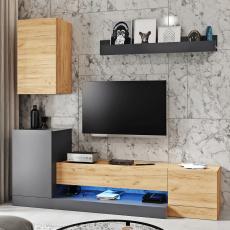 Obývací stěna, šedý antracit/dub wotan, DULA