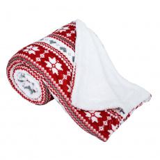 Oboustranná beránková deka, zimní vzor, 150x200, SAMANTE