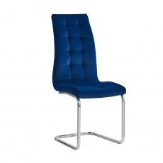 Jídelní židle, modrá Velvet látka / chrom, SALOMA NEW