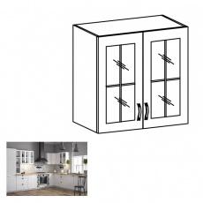 Horní dvoudveřová skříňka se sklem G60, bílá / sosna andersen, PROVANCE