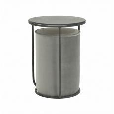 Set stolek a taburet, šedá Velvet látka/tmavě šedá, LEILA