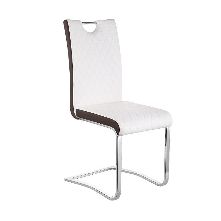 Jídelní židle, Chrom / Ekokůže, Bílá / hnědá, IMANE