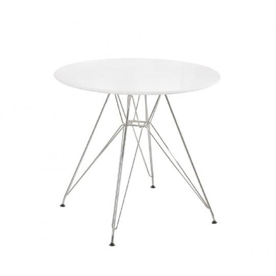Jídelní stůl, chrom / MDF, bílá extra vysoký lesk HG, RONDY