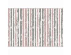 Koberec, růžová/šedá/bílá, 67x120, KARAN