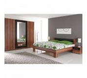 Ložnicový komplet (skříň, postel a 2 noční stolky), ořech / černá, MARTINA