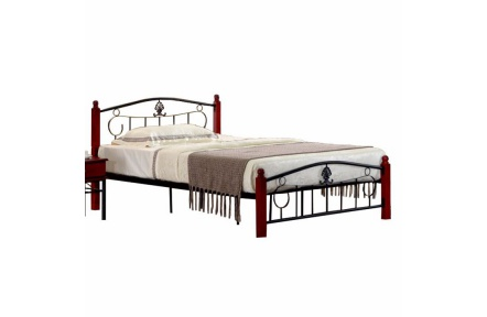 Kovová postel s roštem, 140x200, MAGENTA