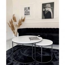 Konferenční stolky, set 2 ks, bílá/černá, IKLIN
