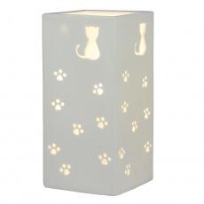 Keramická stolní lampa, bílá / vzor kočky, BELLE TYP 2
