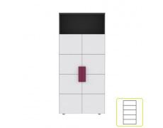 Skříň policová, šedá / bílá / fialová, LOBETE R82