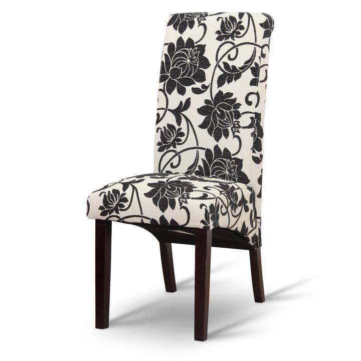 Jídelní židle, bílá s černými květy / tmavý ořech, JUDY 2 NEW