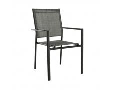 Zahradní stohovatelná židle, šedá / černá, TELMA