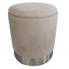 Taburet s úložným prostorem, hnědošedá TAUPE látka / stříbrná chrom, Daron