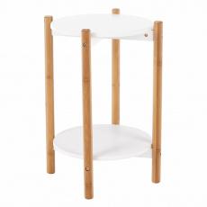 Příruční / noční stolek, bílá / přírodní, BAMP