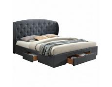 Manželská postel, látka šedá, 160x200, OLINA