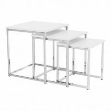 Konferenční stolky, set 3 ks, bílá matná / chrom, MAGNO TYP 3