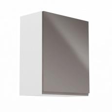 Horní skříňka, bílá / šedý extra vysoký lesk, pravá, AURORA G601F
