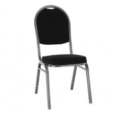 Židle, stohovatelná, látka černá / šedý rám, JEFF 3 NEW