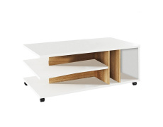 Konferenční stolek, bílá/dub sonoma, DASTI